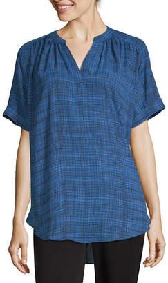 WORTHINGTON Worthington Womens V Neck Short Sleeve Blouse