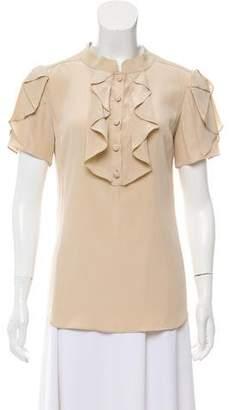 Temperley London Short Sleeve Ruffle Button-Up Top