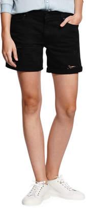 DL1961 Premium Denim Karlie Boyfriend Denim Shorts - Black