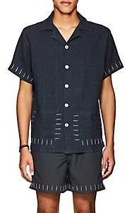 HECHO Men's Guayaber Embroidered Linen Shirt - Blue