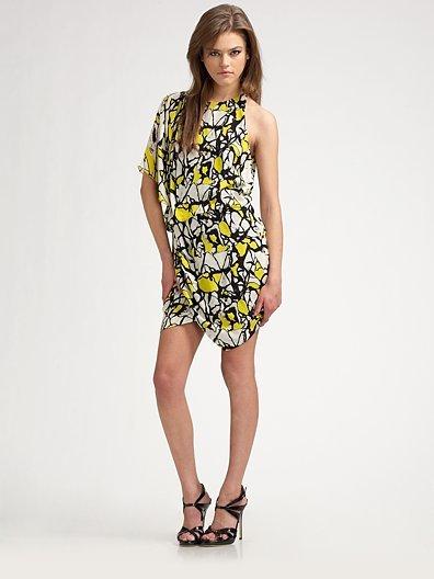 Robert Rodriguez Asymmetrical Print Silk Dress