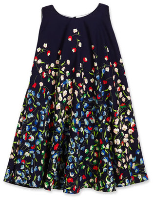 Helena Sleeveless Floral Crepe Swing Dress, Navy, Size 4-6 $176 thestylecure.com