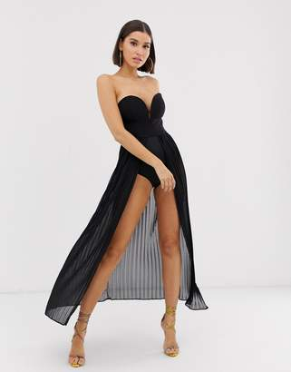 Rare London pleated maxi bodysuit dress in black