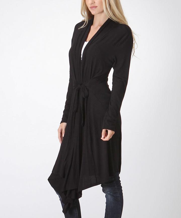 Black Asymmetrical-Hem Tie-Waist Duster