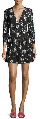BA&SH Beli V-Neck Floral-Print Mini Dress