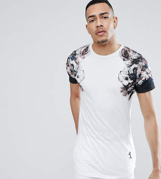 Religion TALL Longline T-Shirt With Faded Print Sleeves