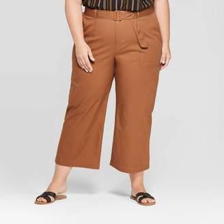 Ava & Viv Women's Plus Size Belted Cropped Wide Leg Pants