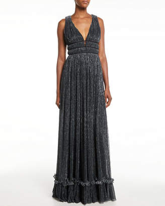 Zac Posen Ruth Pleated Metallic Gown
