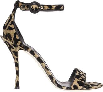 Dolce & Gabbana Leopard Lurex Ankle Strap Sandals