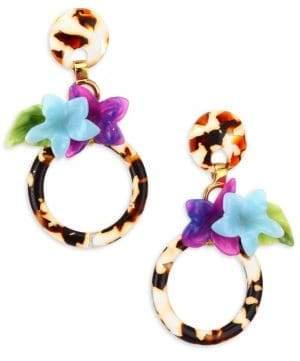 Lele Sadoughi Hibiscus Hoop Earrings