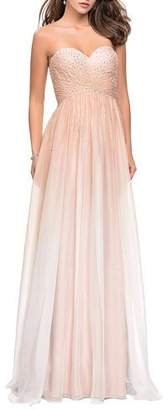 La Femme Ombre Rhinestone Embellished Strapless Chiffon Gown