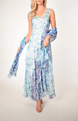 Komarov Floral Side Ruffle Maxi Dress with Matching Shawl