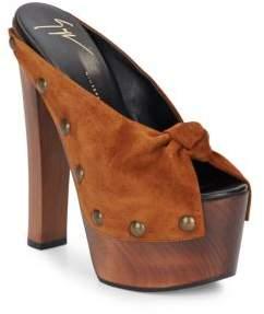 Studded Suede Wooden Platform Sandals $845 thestylecure.com