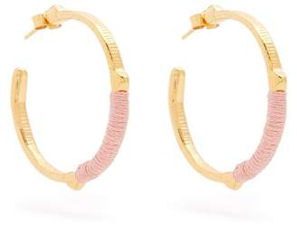 Marte Frisnes - Dido Embroidered Hoop Earrings - Womens - Pink