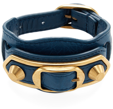 Balenciaga  Studded Double Buckle Leather Bracelet