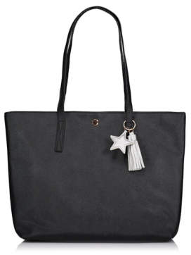 George Black Faux Leather Tote Bag