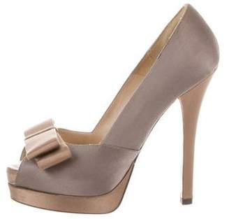 Fendi Peep-Toe Bow Pumps