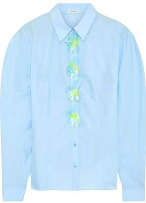 DELPOZO Sequin-embellished Cotton-poplin Shirt