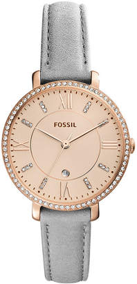 Fossil Women's Jacqueline Gray Leather Strap Watch 36mm, Created for Macy's