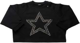 Diesel Eyelet Star Cropped Cotton Sweatshirt