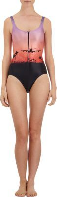 "We Are Handsome The Landing"" Zip-front Swimsuit"