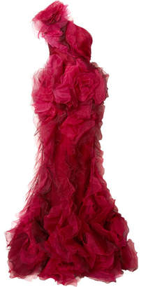 Marchesa One-shoulder Tulle And Silk-organza Gown - Red