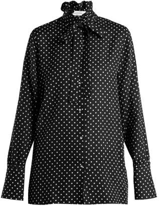 Valentino Polka Dot Print Silk Georgette Blouse - Womens - Black White