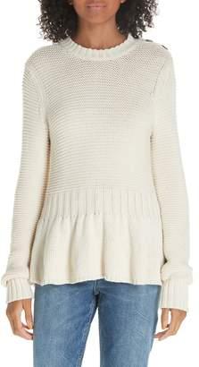 Rebecca Taylor Mix Stitch Cotton Wool Peplum Sweater