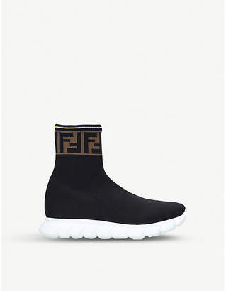 Fendi Coated logo-jacquard stretch-knit high-top trainers