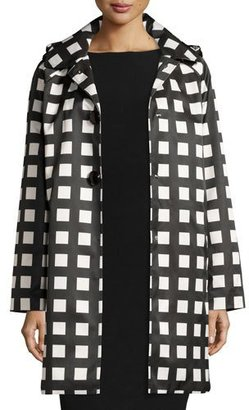 kate spade new york hooded check rain coat, Black/White $298 thestylecure.com