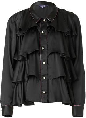 SUPERSWEET x moumi - Black Silk Tiered Shirt
