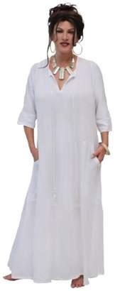 LOTUSTRADERS Maxi Dress Curved Pockets Tassels Black T113