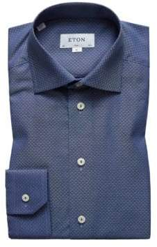 Eton Slim Fit Navy Textured Solid Dress Shirt