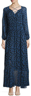 Derek Lam Python-Print Long-Sleeve Maxi Dress, Blue Allium $1,695 thestylecure.com