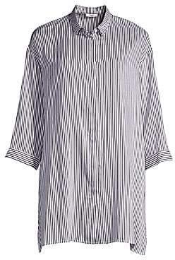 Peserico Women's Striped Button-Down Blouse