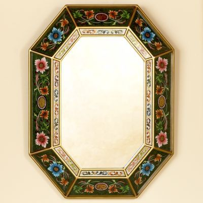 Novica Green Reverse Painted Glass Mirror