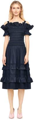Rebecca Taylor Off-The-Shoulder Cotton Sateen Dress
