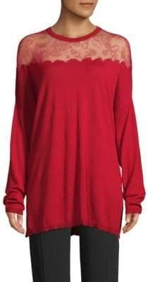 Valentino Mesh Lace-Paneled Jersey Sweater