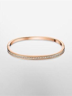 Calvin KleinCalvin Klein Womens Hook Extension Rose Gold Studded Bracelet Gold S