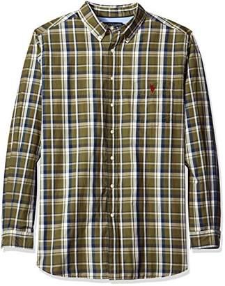 U.S. Polo Assn. Men's Big and Tall Long Sleeve Large Plaid Poplin Woven Shirt