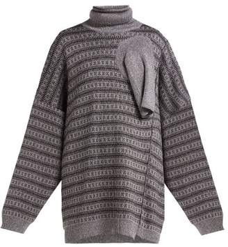 Raf Simons Draped Panel Lame Jacquard Sweater - Womens - Silver Multi