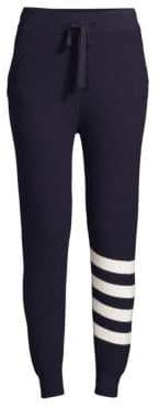 Monrow Cashmere-Blend Sporty Striped Sweatpants