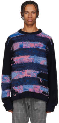 Acne Studios Navy and Purple Irregular Striped Crewneck Sweater