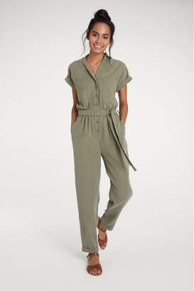 F&F Womens Khaki Utility Jumpsuit - Green