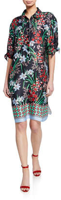 Rickie Freeman For Teri Jon Floral-Print Button-Front Elbow-Sleeve Shirtdress