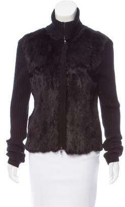L'Agence Fur-Trimmed Zip-Up Sweater