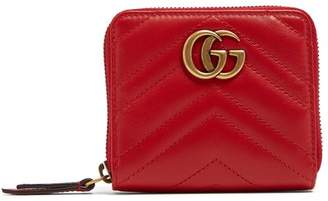 Gucci Gg Marmont Quilted Leather Wallet - Womens - Red