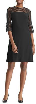 Chaps Sheer-Panel Bell-Cuff Straight-Fit Shift Dress