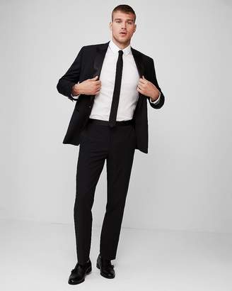 Express Classic Black Performance Stretch Wool-Blend Tuxedo Pant