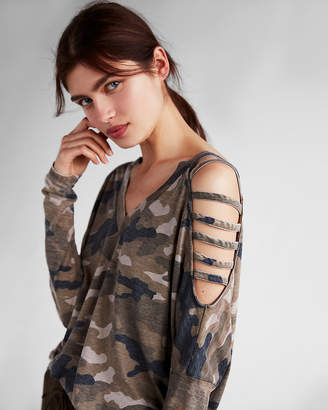 Express Camo Strappy Cold Shoulder Top